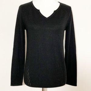 Breizh Angel Litchi Button Back Sweater Black NWT
